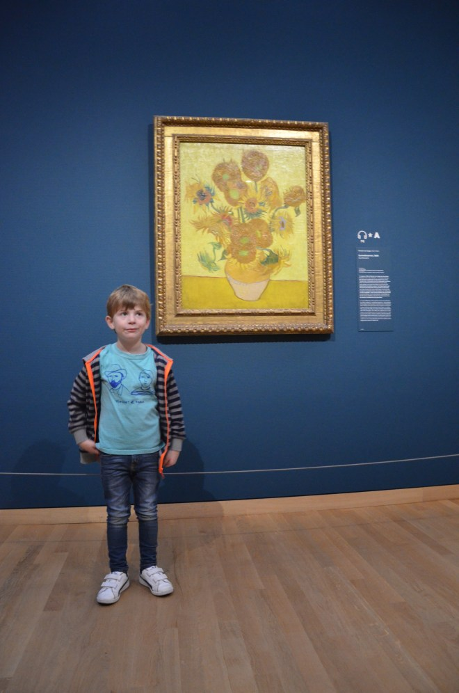 Amsterdam with kids - a boy at the Van Gogh Museum Amsterdam