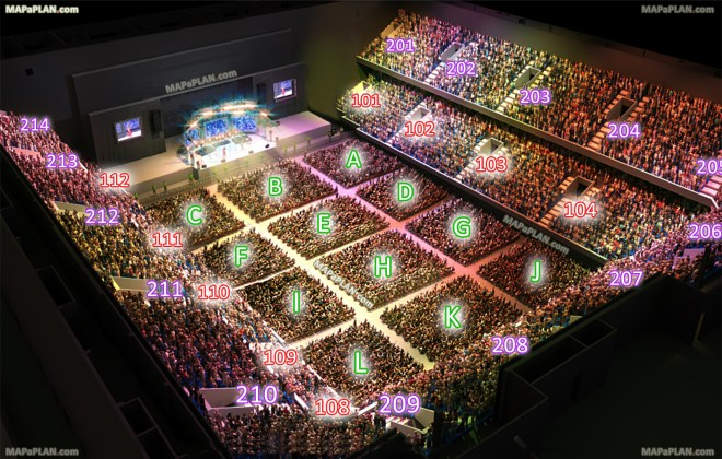 Amsterdam Ziggo Dome detailed seating plan with seat numbers