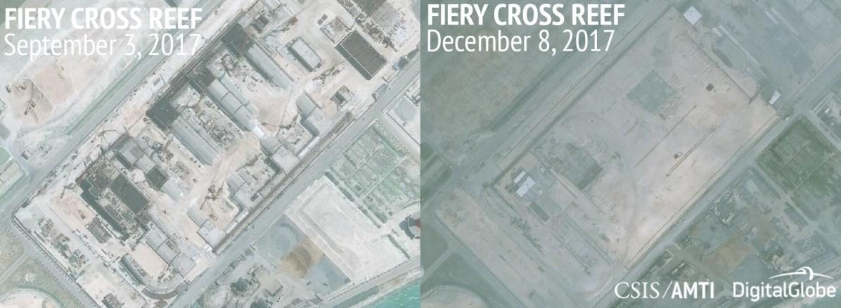 Fiery Cross Reef, September 3 and December 8, 2017