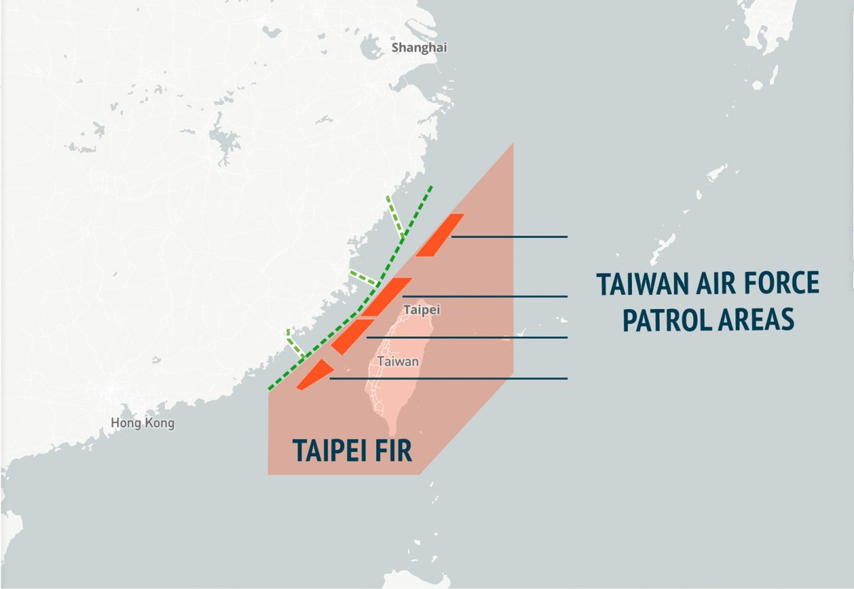 Patrol Areas of the Taiwan Air Force