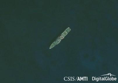 A Shuoshi II-class CCG patrol ship near Fiery Cross Reef, April 23, 2017.