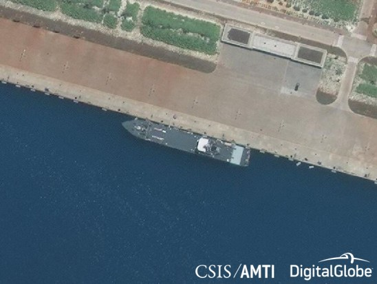 A Type 073A landing ship medium at port in Mischief Reef, May 6, 2018.