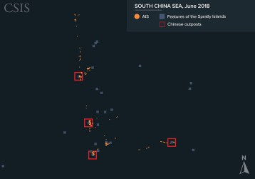 AIS signals show that from January to September 2018, the Yue Tai Yu vessels have operated near Chinese outposts in the Spratlys with no apparent signs of fishing.