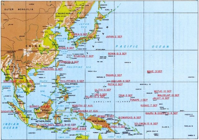 Japanese Colonial Holdings on September 2, 1945