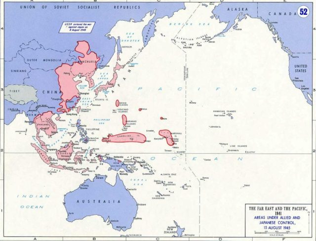 Areas Under Allied and Japanese Control, August 15, 1945
