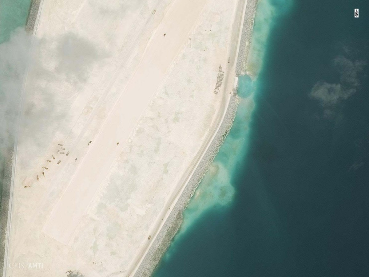 The southern end of the Mischief Reef runway as of October 19.
