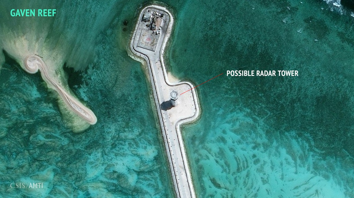 The northern section of China's outpost on Gaven Reef, as of February 12, 2016.