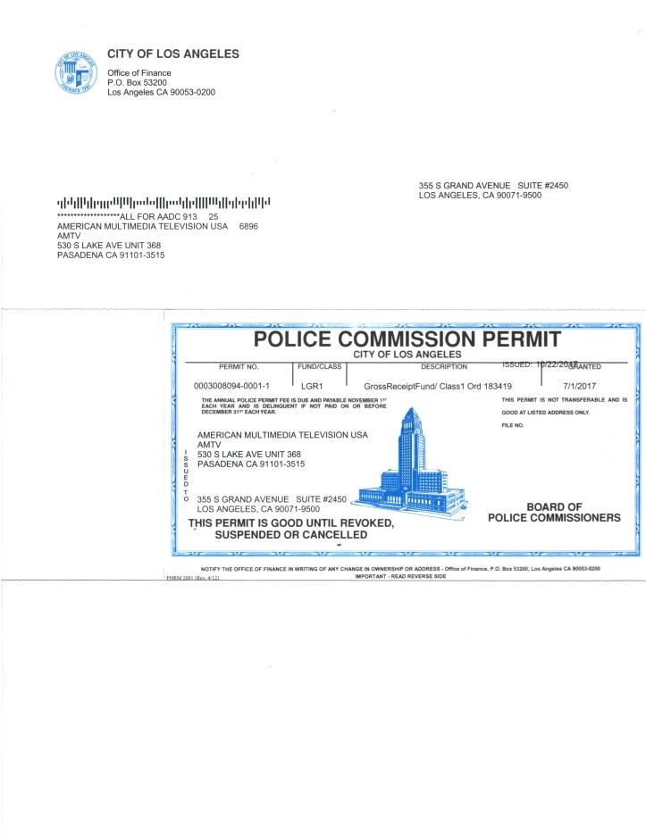 AMTV AMTV Police Commission Permit