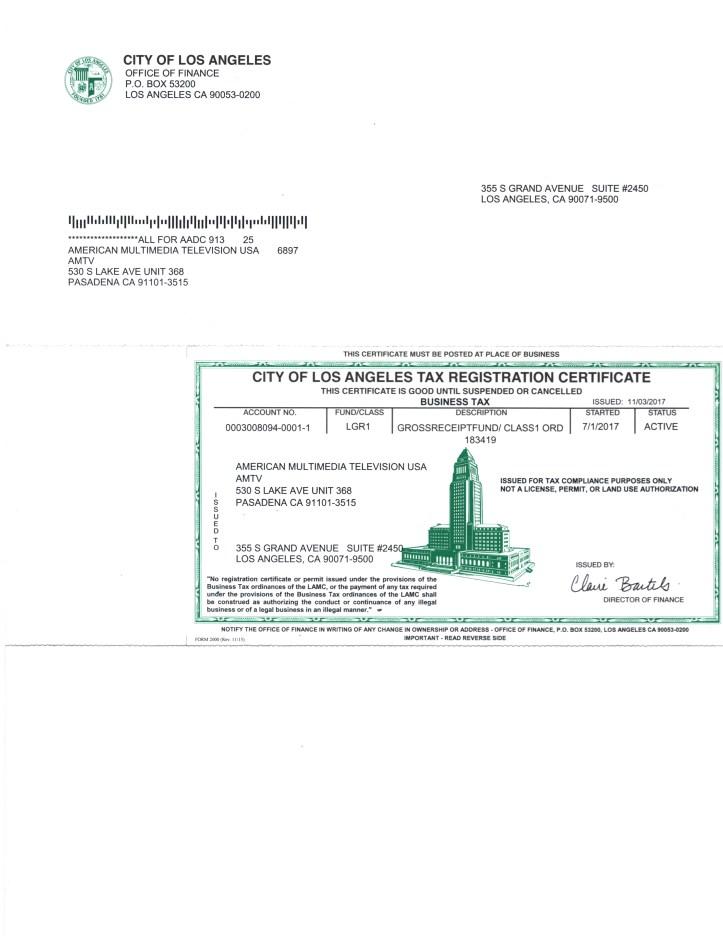 AMTV Tax Registration Certificate