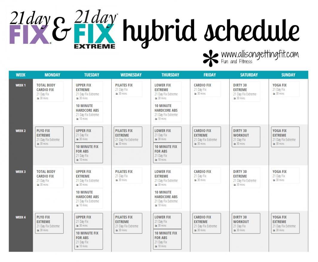 21 Day Fix Extreme Calendar