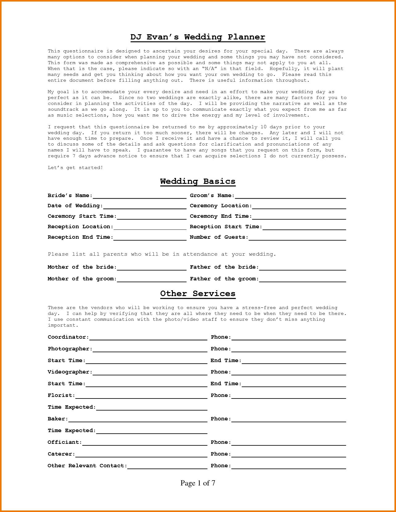 Dj Wedding Planner Form