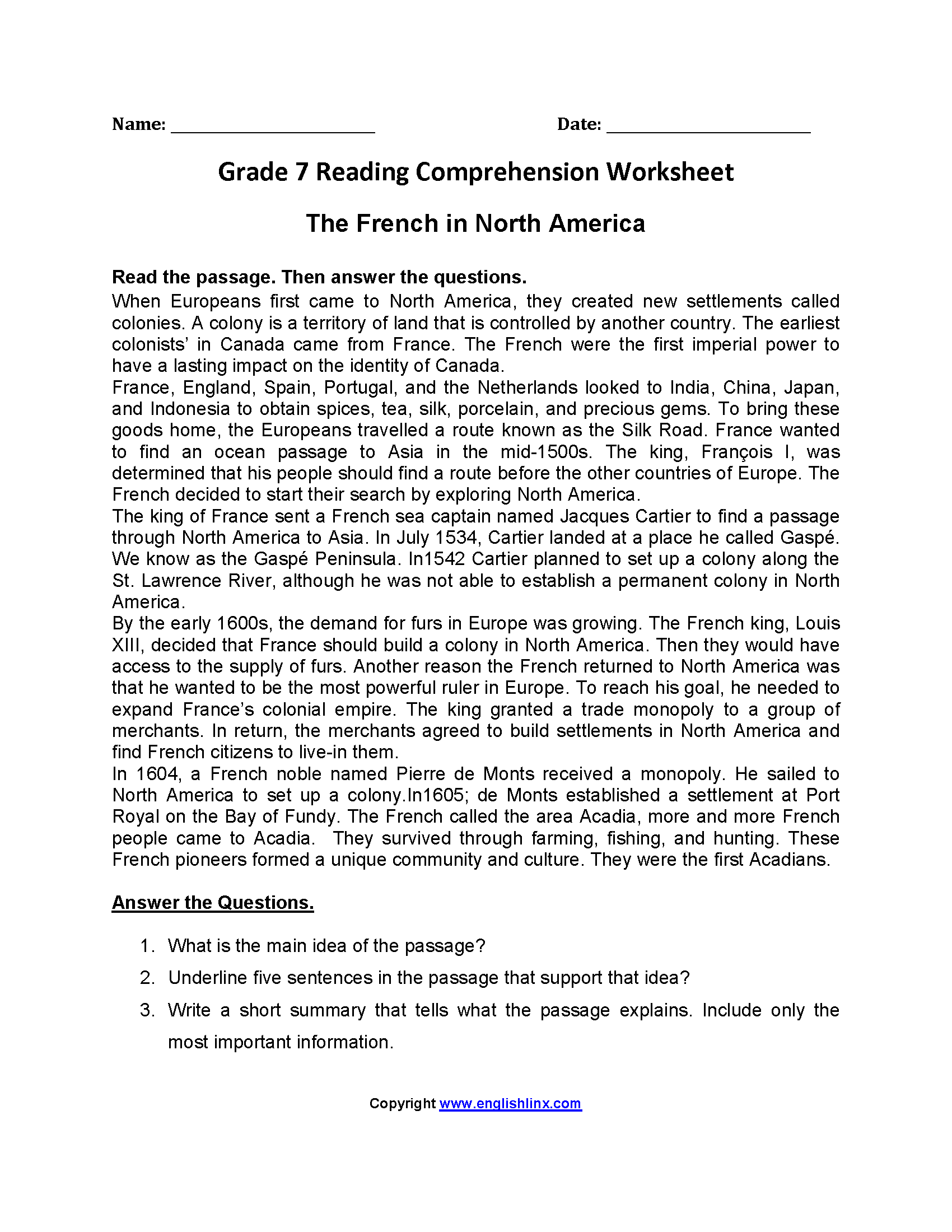 - Worksheets For Grade 7 Printable Worksheets And Activities For
