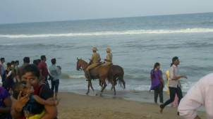 mounted cops at The Marina