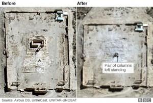 Templo de Bel, Palmira: imagens de satélite, antes e depois do ataque.