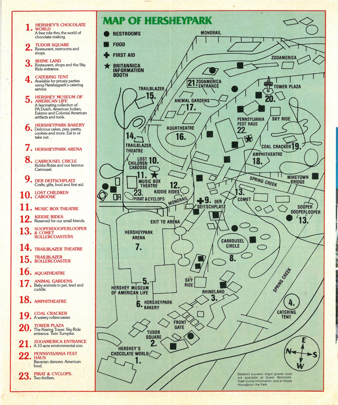 1980 Hersheypark map