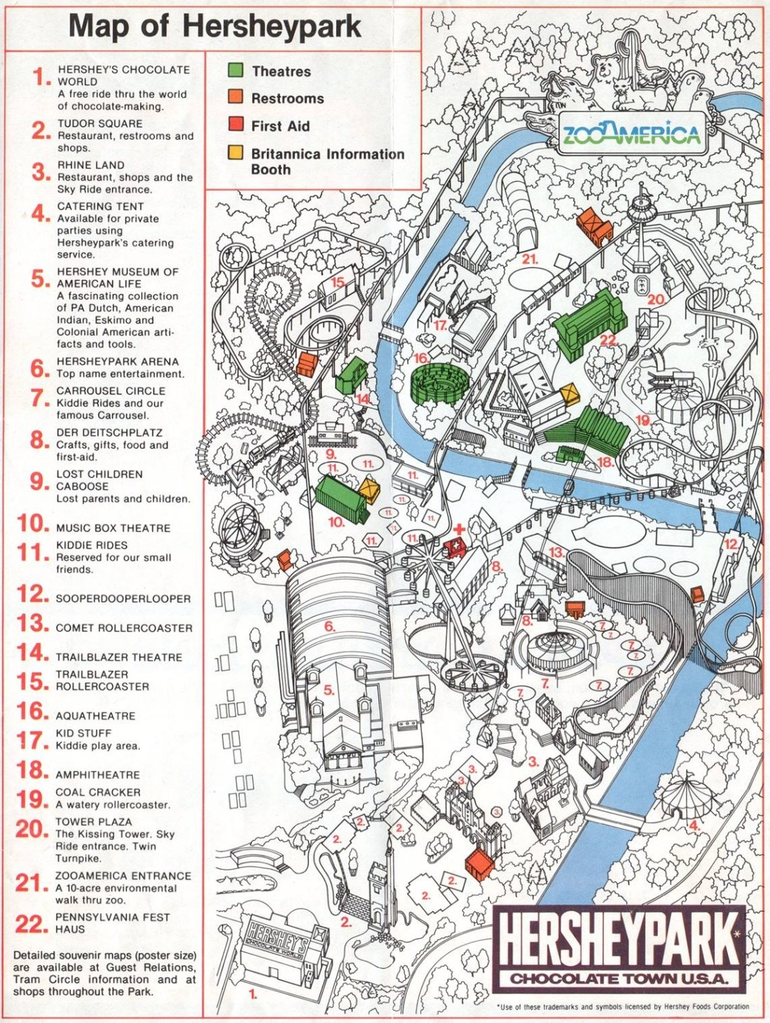 1981 Hersheypark map
