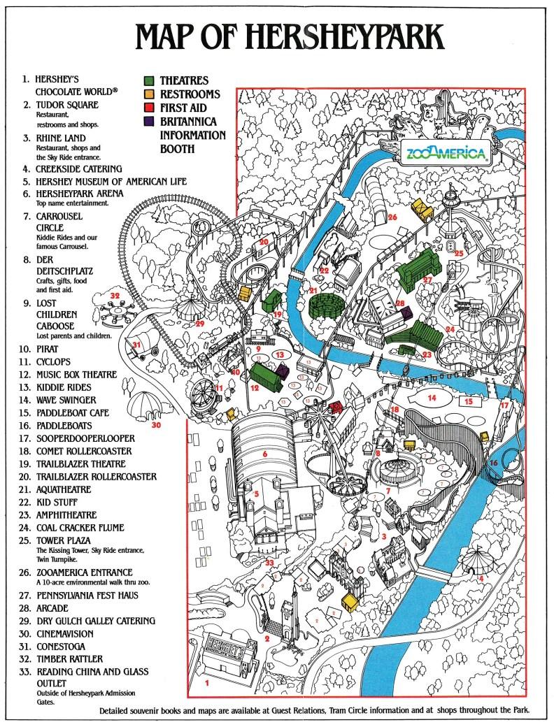 1984 Hersheypark map