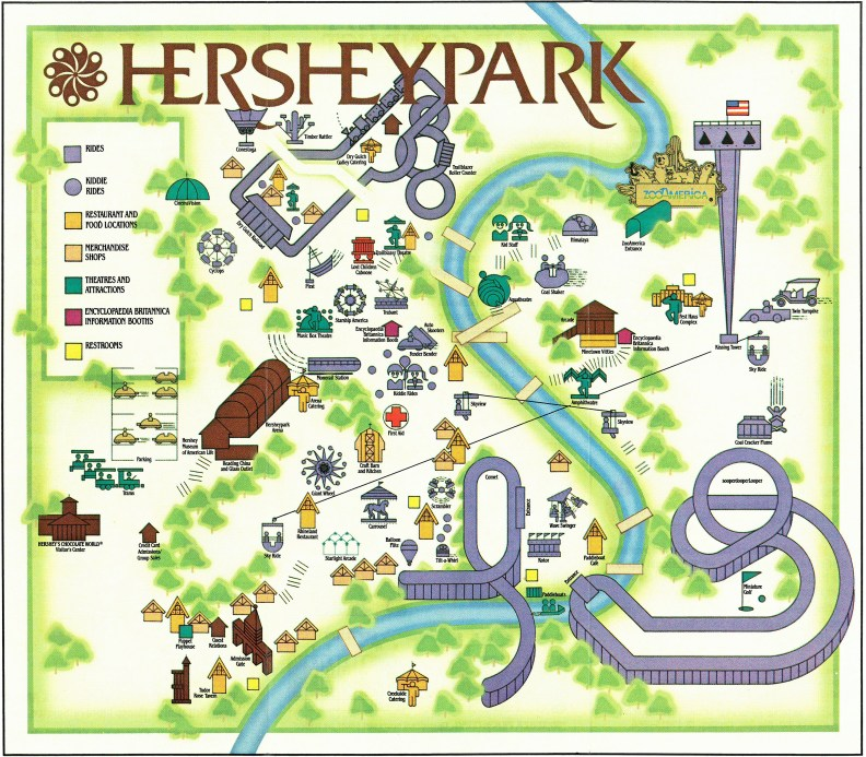 1985 Hersheypark map