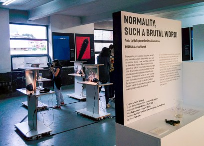 A presentation of accessibility of photographs made by MNAC and other associations at the Romanian Design Week.