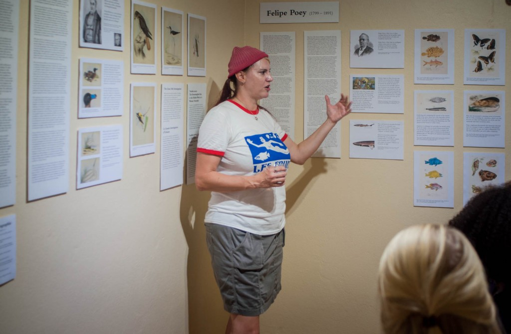 Amuseum Naturalis curator Jenn Yerkes discusses the current special exhibit with museum guests.