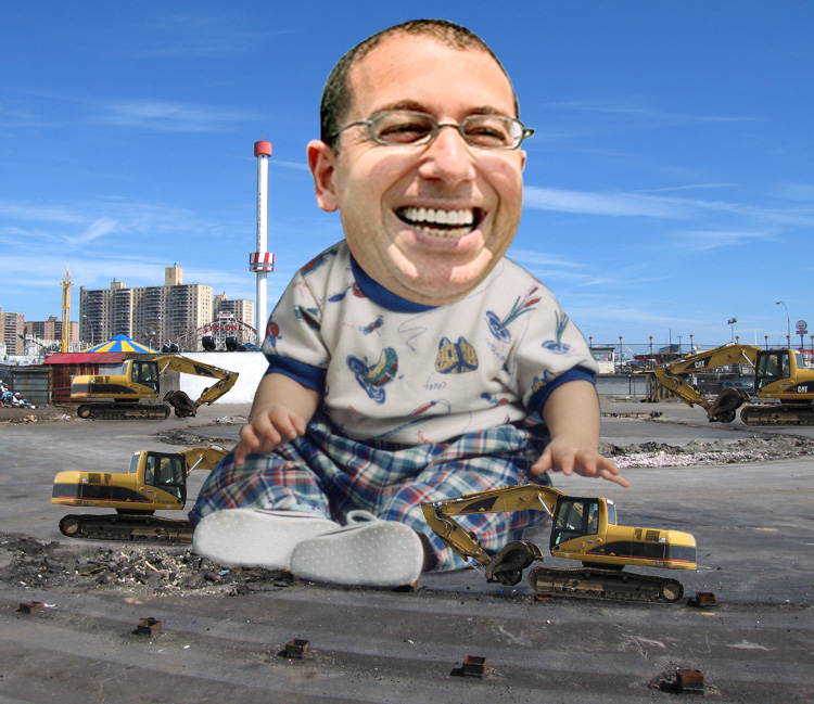 Joey Sitt Plays with Bulldozers in His Coney Island Sandbox. Art by Tiny Tim