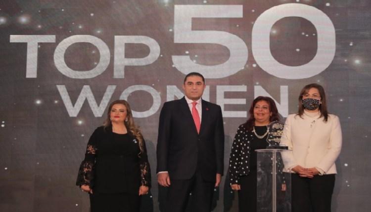وزيرة التخطيط ورئيس منتدى الخمسين يكرمان داليا الجزيري
