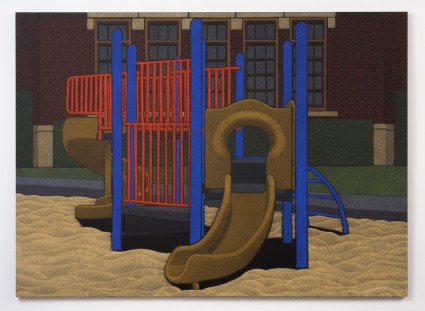 "Location (Playground no.3) 2014, oil pastel on canvas 96"" x 132"""