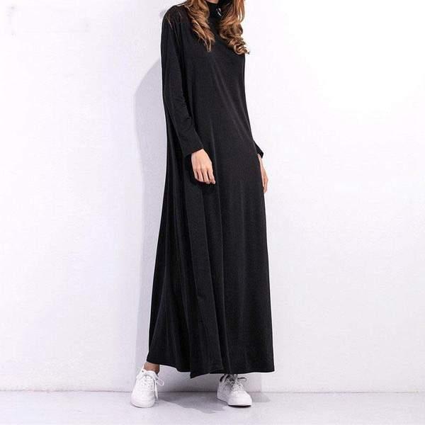 Julia Pregnant Women Oversize Turtleneck Long Sleeve Dress - Black