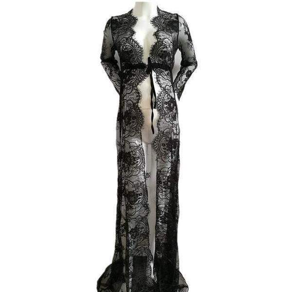 Angel Off White Maternity Gown- See Through - Black