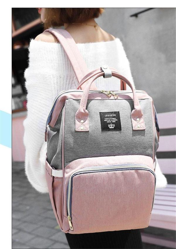 Pink and Grey Diaper Backpack Bag Front View
