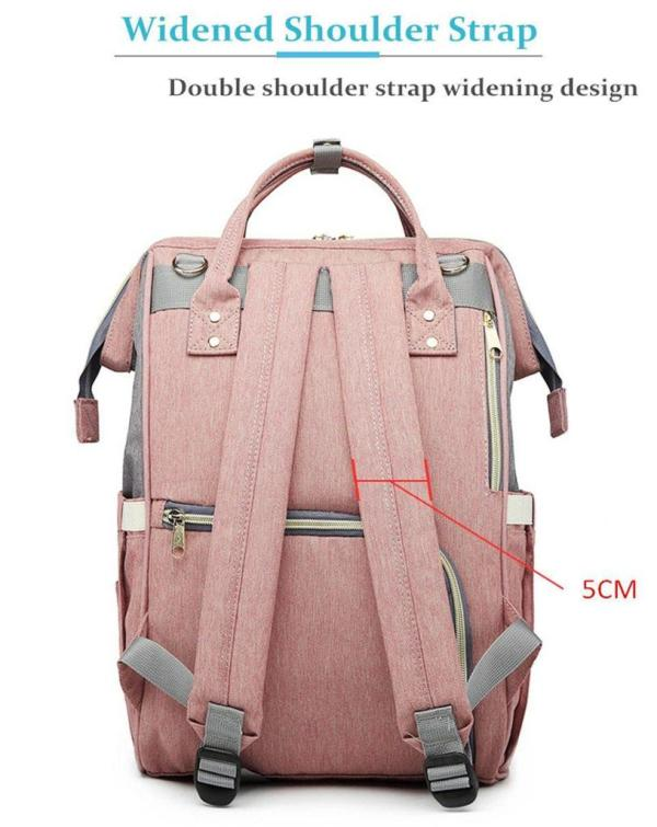 Pink and Grey Diaper Backpack Back Features