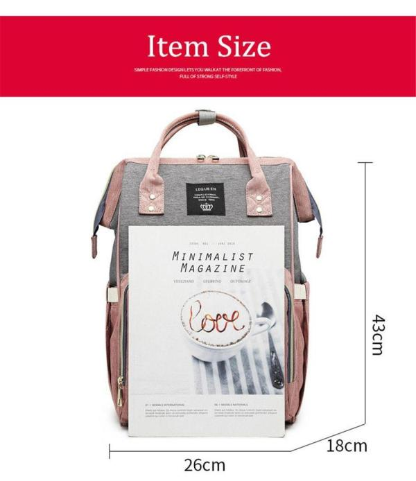 Pink and Grey Diaper Backpack Size