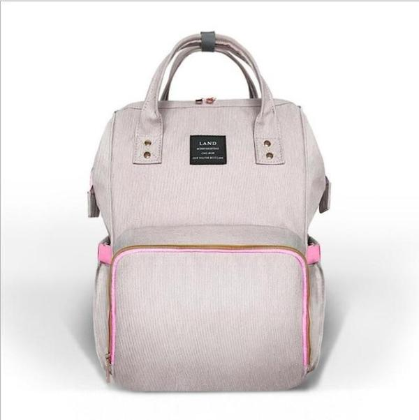Land Diaper Backpack Bag - Gray and Pink- AmyandRose