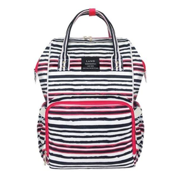 Land Diaper Backpack Bag - Black with Stripes - AmyandRose