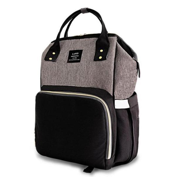 Land Diaper Bag - Grey and Black - AmyandRose