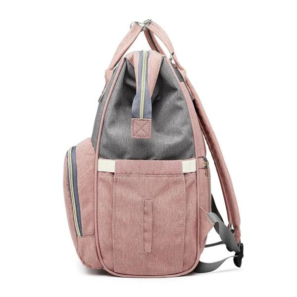 Pink and Grey Diaper Bag Backpack Side