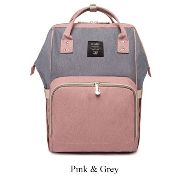 Lequeen Diaper Bag Backpack Pink Gray