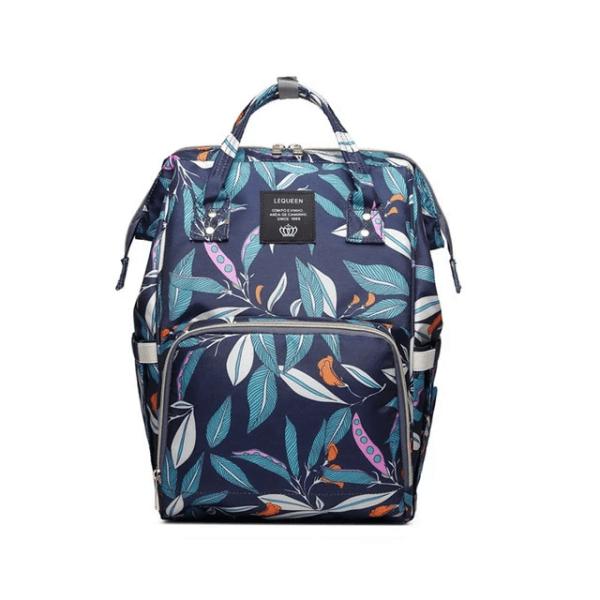 Lequeen Diaper Bag Backpack Blue Flower