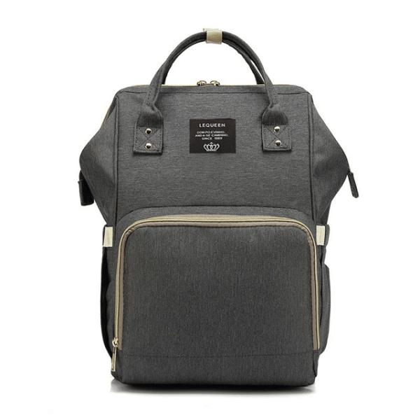 Lequeen Diaper Bag Backpack Deep Gray