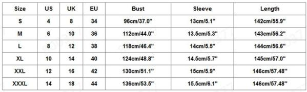Sequin Maternity Dress Size Chart