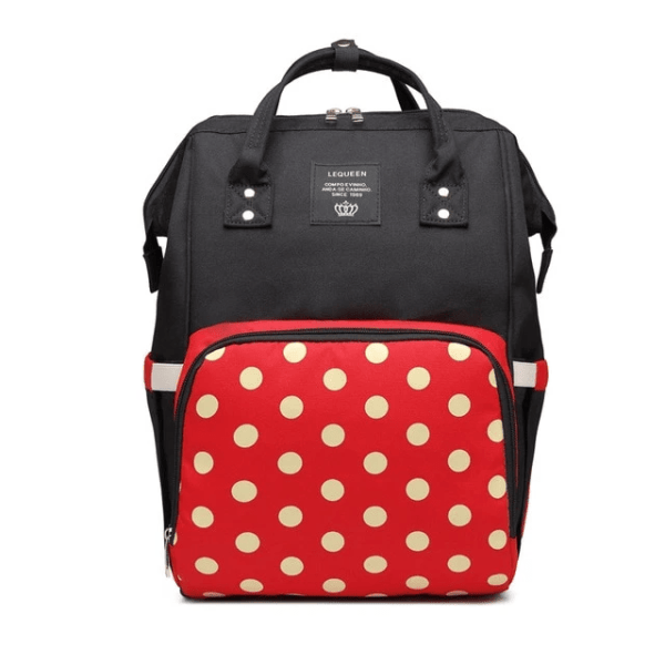 Lequeen Diaper Bag Backpack Black Red