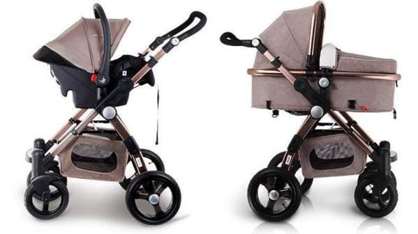 Baby Stroller 3 in 1 Convertible Khaki