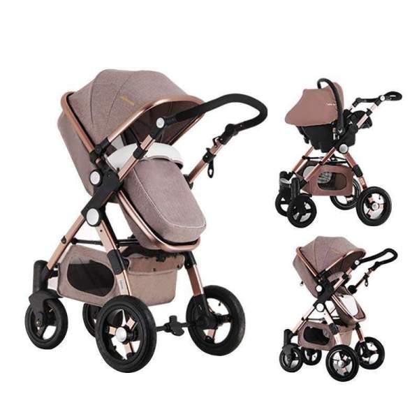 Baby Stroller 3 in 1 Khaki