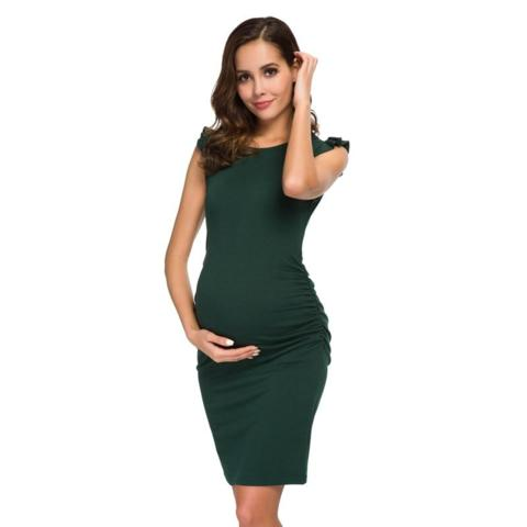 Ruched pregnancy midi dress