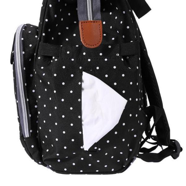 Polka Dot Waterproof Diaper Backpack Bag Side Pocket