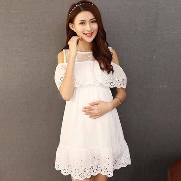 White Lace Off Shoulder Maternity Dress