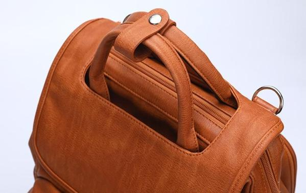 Leather Diaper Backpack Top Handle