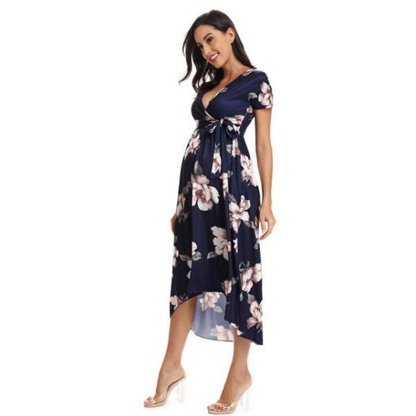 Floral Fitted Maternity Dress Blue