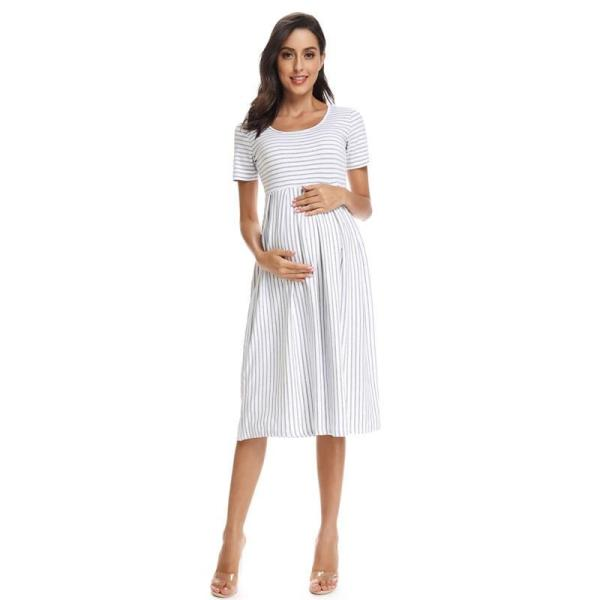 Striped Maternity Dress White Front