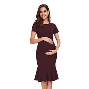 Bodycon Maternity Dress Brown